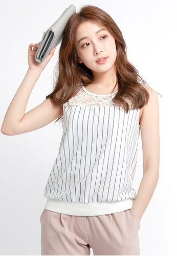 Tokichoi white Striped Tank With Lace Panel TO550AA0RP0SMY_1
