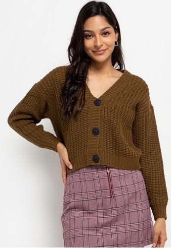 Peponi brown Oversize Button Cardigan BBF42AA93BA310GS_1