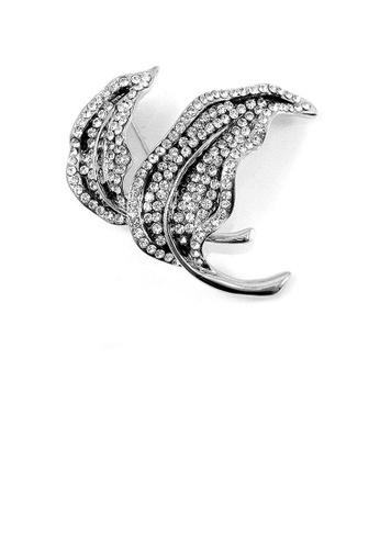 Glamorousky silver Elegant Leaf Brooch with Silver Austrian Element Crystal 3BD37AC68A10CDGS_1