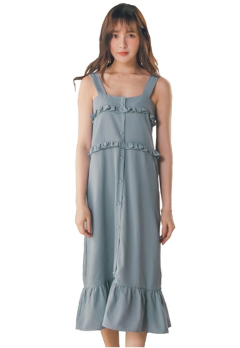 Yoco blue Sleeveless Ruffle Dress C1EE6AA10AD828GS_1