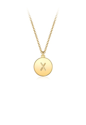 Glamorousky silver Fashion Simple Plated Gold Letter X Round Pendant with Necklace BB649ACD449858GS_1