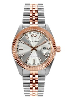 harga Christ Verra Automatic Men's Watch CV 72025G-14 SLV White Silver Rose Gold Stainless Steel Zalora.co.id
