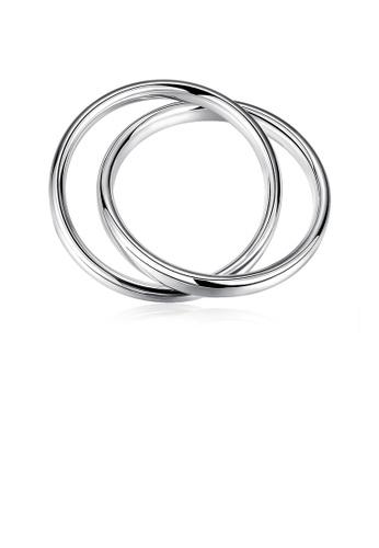 Glamorousky silver Fashion Simple Geometric Cross Round Bangle 22294ACC16E1E8GS_1
