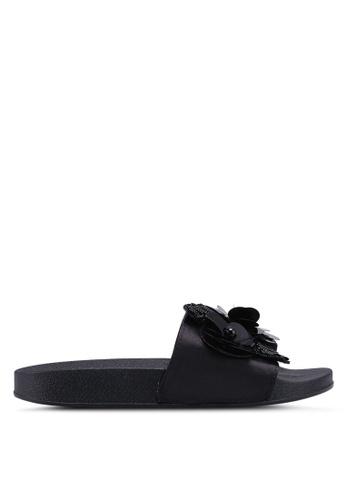 Carlton London 黑色 立體花飾亮片拖鞋 0C89BSH489887DGS_1
