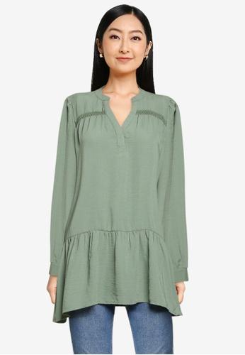 JACQUELINE DE YONG green Laura Long Sleeve Tunic Shirt 49925AA245E9A4GS_1