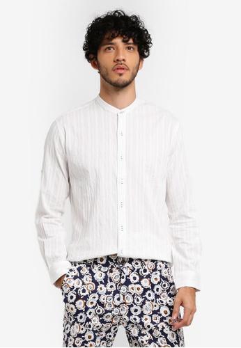 ZALORA white Striped Linen Mandarin Collar Long Sleeve Shirt 9605AAAA4A02FEGS_1