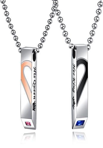 Trendyshop black and gold Matching Heart Couple Pendant Necklace Set 86A84AC77543D0GS_1