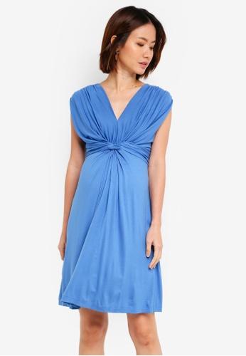 d84f468a358 Pietro Brunelli Milano blue Papaver Knot Front Maternity Dress  79A41AA3CB8DF7GS 1