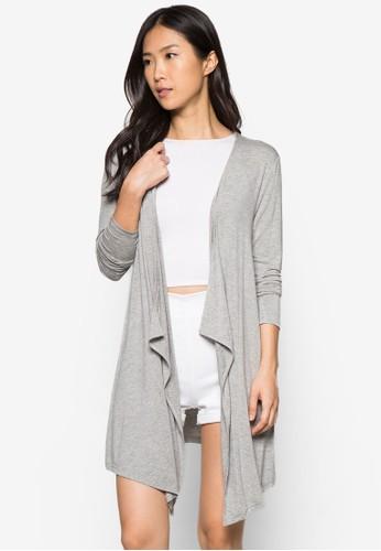 基本款zalora 衣服尺寸不對稱下擺外套, 服飾, 毛衣& 針織外套