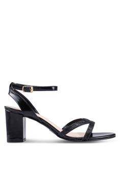 64e89d0c226 DMK black Ankle Strap Glitter Heel Sandals C7392SH8C0582DGS 1