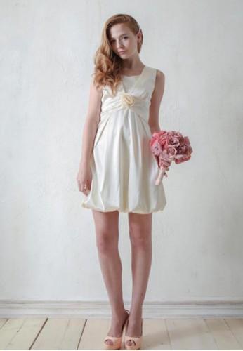 背心式玫瑰花朵腰版設計花苞裙緞面小禮服, 服飾, esprit 京站派對洋裝