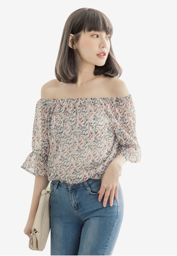 Eyescream white and multi Printed Off Shoulder Top 5F1A1AAF893A65GS_1