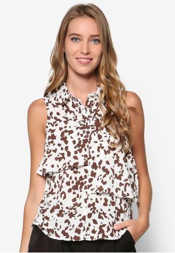 Petite 動物紋層次無袖襯衫, 服飾, esprit 門市上衣