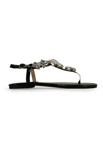 Gripz black Crystfly Jewel Thong Sandals GR357SH86INXSG_1