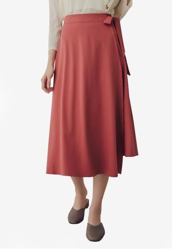 Yoco red Tie Waist Midi Skirt 6A5A3AA2BF24FAGS_1