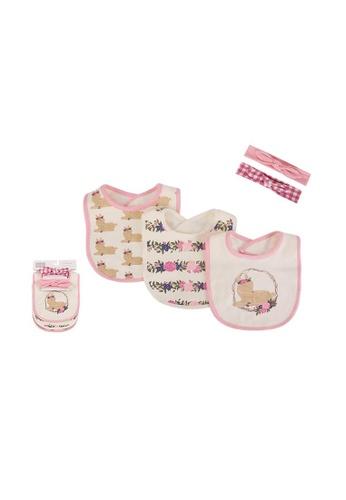 Little Kooma pink Baby Girls Bibs n Headwraps 5 Piece Pack 56191 - 0805 4C33FKCF2A69B4GS_1