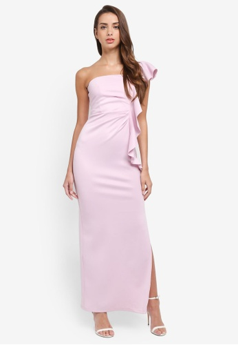 Miss Selfridge pink One Shoulder Maxi Dress A91BFAA5C58E40GS_1
