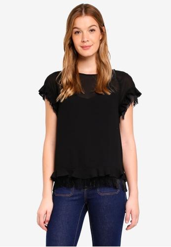 Sisley black Ruffled Blouse C7F59AA010E571GS_1