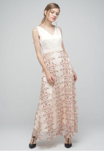 Megane beige Red Romance Diannah V-Neck Long Dress 30997AA4AA7E8FGS_1