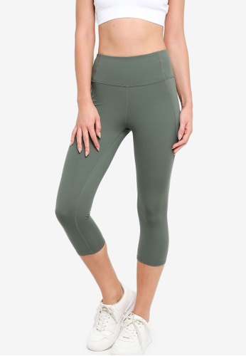H&M green High-Waist Cropped Tights 00A96AA7705F0AGS_1