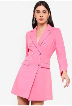 0b26d695679 ZALORA pink Double Breasted Blazer Dress BEDADAA190BAB7GS 1