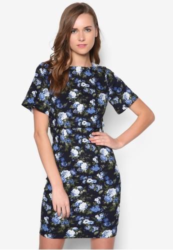 花卉圖案短袖洋zalora時尚購物網評價裝, 服飾, 洋裝