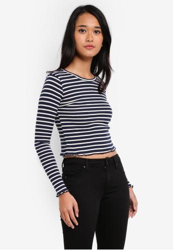 TOPSHOP blue Petite Striped Lettuce Edge T-Shirt 090FEAACE00DFCGS_1