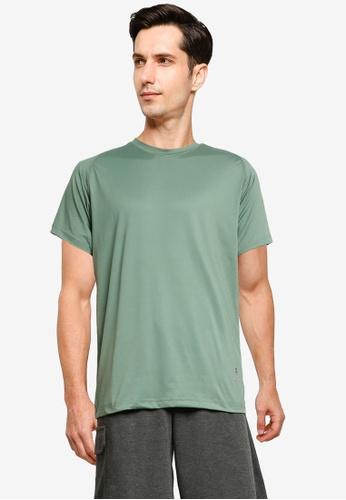 UniqTee 綠色 Raglan 圓領T恤 C3585AAE800DD8GS_1