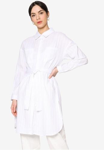 ZALIA BASICS white Textured Belted Oversize Shirt F60B9AAF7278E4GS_1