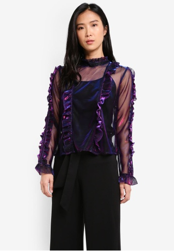 Miss Selfridge purple Mesh Frill Detail Blouse MI665AA0SIT8MY_1