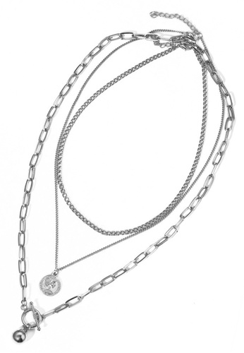 Sunnydaysweety silver Oval Link Chain with Charms 3 in 1 Necklace CA030224 A885BACE08BC68GS_1
