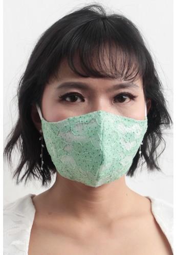 DhieVine Batik green FACEMASK LACE MINT EARLOOP 2PCS 889B6ES7516462GS_1