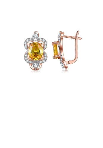 Glamorousky white Fashion and Elegant Plated Rose Gold Flower Earrings with Yellow Cubic Zirconia 4D0FBAC4C46BFCGS_1
