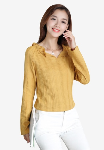 Lara yellow Long sleeves Solid color Slip on Blouse 82918AA75C8204GS_1