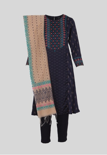Le Reve blue and multi Le Reve Blue Salwar Kameez with Shawl Set AD25DAAA50A5C7GS_1