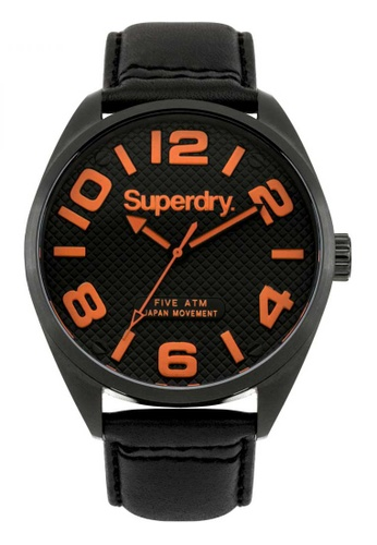 Superdry black Superdry Orange and Black Leather Watch F7B4BAC9178A3BGS_1