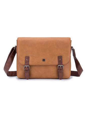 ENZODESIGN brown ENZODESIGN Antique Flap Over Leather Messenger B10208 705DFAC640C399GS_1