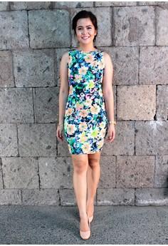 Audrey Floral Black Base Classic Cut Bodycon Dress