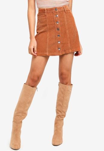 Supre brown The Olsen Cord Skirt 76C59AA39F6CF6GS_1