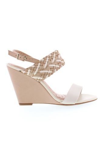 Beira Rio white and beige Sling Back Plaited Wedge Sandal BE995SH85ZTYHK_1