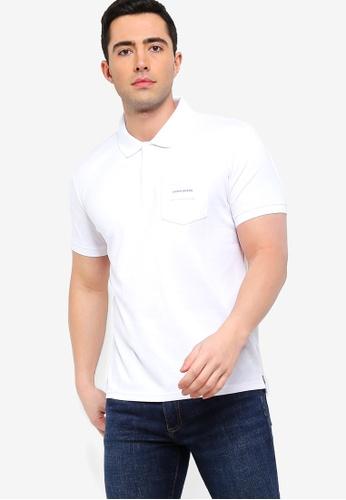 Calvin Klein 白色 LOGO印花口袋POLO衫 689D9AA9C2F06FGS_1