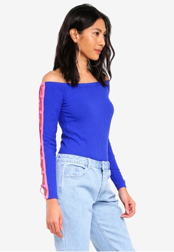 Factorie blue Long Sleeve Off The Shoulder Top 24A07AA99B512BGS_1