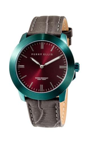 PERRY ELLIS brown and green Perry Ellis Slim Line Unisex 42mm Quartz Watch 07009-01 D7A72AC817DE08GS_1