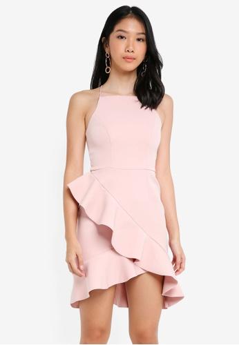 River Island pink Light Pink Frill High Neck Bodycon Dress 38805AA69225E6GS_1