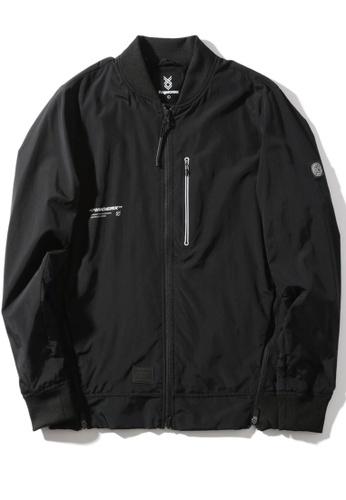 """Fingercroxx black """"Artificial"""" reflective print side zip detail bomber jacket 686DBAAACF8BB7GS_1"""
