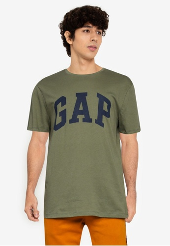 GAP 綠色 V-Faph 基本Logo T恤 BDE9AAAF706499GS_1