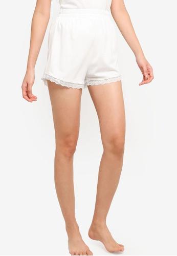 ZALORA BASICS white Lounge Satin & Lace Pyjama Shorts 44DD7AA749B04AGS_1
