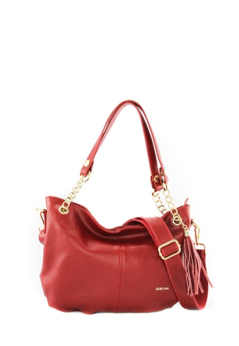 SEMBONIA red SEMBONIA Genuine Leather Hobo Bag SE598AC10JURMY_1