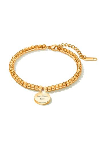 CELOVIS gold CELOVIS - Medallion Round Engravable Pendant Bracelet (Gold) E9E99AC68ADB6DGS_1