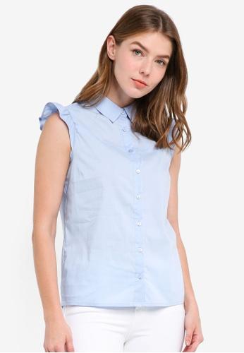 OVS blue Sleeveless Frill Shirt 32726AA72CFD4BGS_1